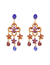 Fashion Golden Crystal Flower Geometric Earrings