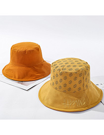 Fashion Yellow Letter Embroidery Double-sided Wear Hat