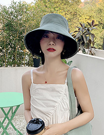 Fashion Aqua Green Cotton Double-sided Wear Large Brimmed Hat
