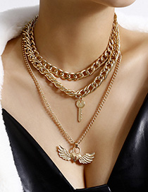 Fashion Golden Letter Love Wings Lock Multilayer Necklace