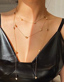 Fashion Golden Love Alloy Tassel Necklace Set
