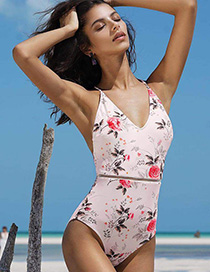 Fashion As Shown Printed V-neck Mesh Cutout One-piece Swimsuit
