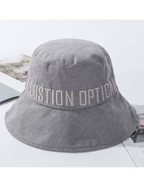 Fashion Gray Embroidered Fisherman Hat