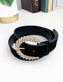 Fashion Black Alloy Pu Cashmere Belt With Diamonds