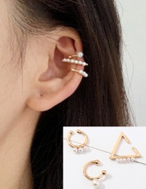 Fashion Golden Pearl Triangle Geometric Ear Clip