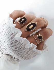 Fashion Black Alloy Dripping Geometric Ring Set