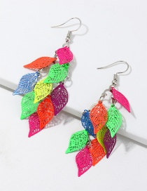 Fashion Color Openwork Leaf Print Earrings