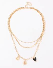 Fashion Golden Multi-element Chain Character Love Multilayer Necklace