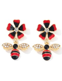 Fashion Red Alloy Bee Earrings With Diamonds And Flowers