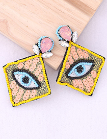 Fashion Yellow Handmade Woven Beads With Diamonds And Diamond Eyes