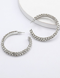 Fashion White Hoop Multilayer Diamond C-shaped Earrings