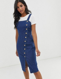 Fashion Blue Single-breasted Split Stretch Denim Camisole