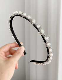 Fashion Silver Alloy Rhinestone Pearl Headband