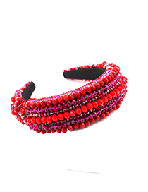 Fashion Red Crystal Hand-stitched Wide-band Hair Band