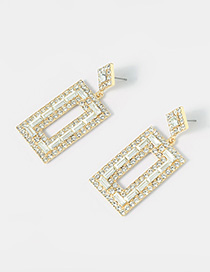 Fashion Bright Gold Crystal Cutout Earrings With Diamonds
