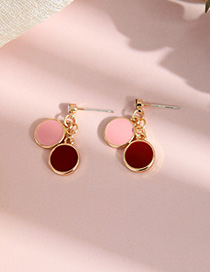 Fashion Red Enamel Glazed Ring Stud Earrings