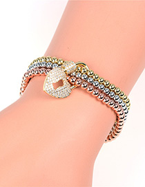 Fashion Color Elastic Micro Inlaid Zircon Love Lock Ball Bracelet