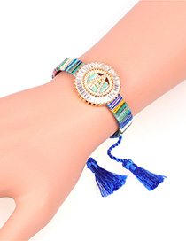 Fashion Blue Braided Tassel And Diamond Alphabet Bracelet