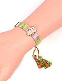 Fashion Color Tassel Micro-set Zircon Owl Bracelet