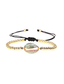Fashion Golden Brass Plated Micro Diamond Inlay Shell Ball Bead Bracelet
