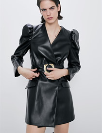 Fashion Black Belted Faux Leather Puff Sleeve V-neck Dress