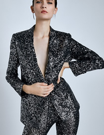 Fashion Black Sequins Sequined Blazer