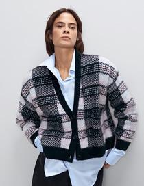 Fashion Black And White Check Button Knit Coat