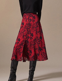 Fashion Red Print Floral Print Skirt