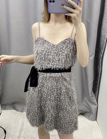 Fashion Gray Belted Fringed Strap Overalls
