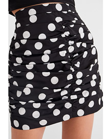 Fashion Black Dots Polka-dot Printed Ruched High-waist Skirt