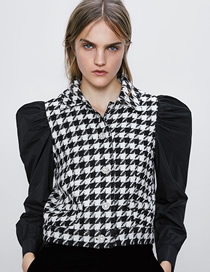 Fashion Black And White Tweed Panel Puff Sleeve Top