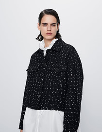 Fashion Black Breasted Tweed Polka Dot Coat