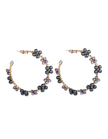 Fashion Black Notched Ring Imitation Pearl Beaded Earrings