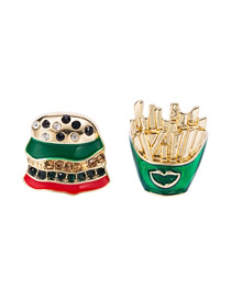 Fashion Green Alloy Asymmetric Earrings With Diamonds And Burger Fries