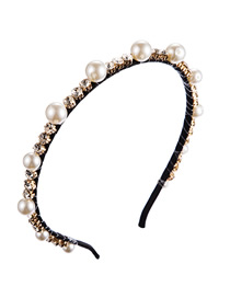 Fashion White Alloy Diamond And Pearl Winding Headband