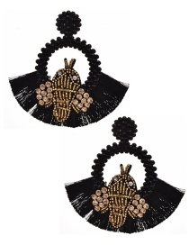 Fashion Black Resin Rice Pearl Rhinestone Bee Round Tassel Stud Earrings