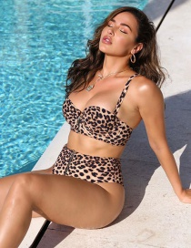 Fashion Leopard Print Leopard-print Underwire Hard Pack Sling Zipper Split Swimsuit