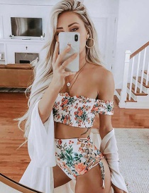 Fashion White Printed Shoulder Strap Sleeve High Waist Strap Split Swimsuit