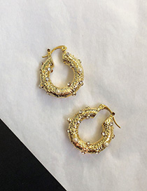 Fashion Golden Gold-plated Diamond Circle Earrings