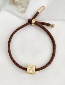 Fashion A Brown Cubic Zirconia Alphabet Woven Rope Bracelet