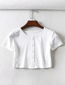 Fashion White Short-sleeved T-shirt On The Chest