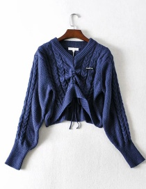 Fashion Navy Blue V-neck Front Drawstring Pullover Loose Cropped Sweater