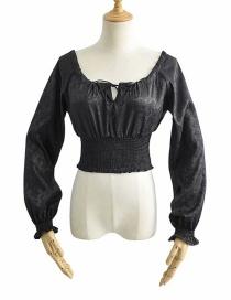 Fashion Black Jacquard Waist Pullover Tether Strap Shirt Shirt