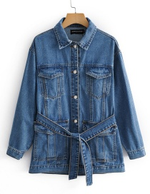 Fashion Denim Blue Multi-pocket Bow Belt Mid-length Denim Jacket