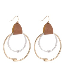 Fashion Golden Leather Geometric Metal Hoop Contrast Earrings