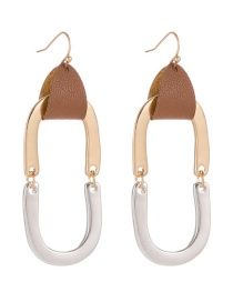 Fashion Golden Leather U-shaped Alloy Contrast Stitching Earrings