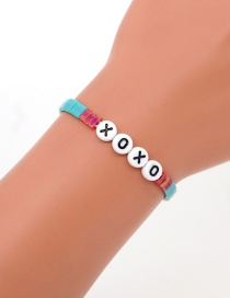 Fashion Blue Woven Beaded Alphabet Bracelet