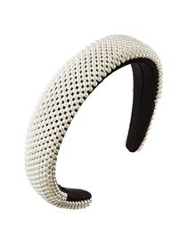Fashion White Full Pearl Wide Edge Sponge Thickened Hair Hoop