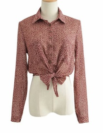 Fashion Dark Red Single-breasted Shirt With Lapel Collar And Small Floral Print