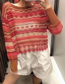 Fashion Color Hollow Stitching Round Neck Pullover Knitted Sweater